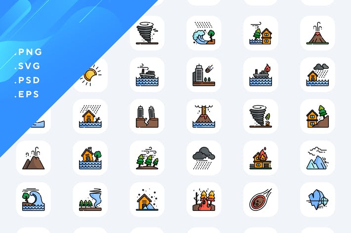 50 Natural Disasters Icons