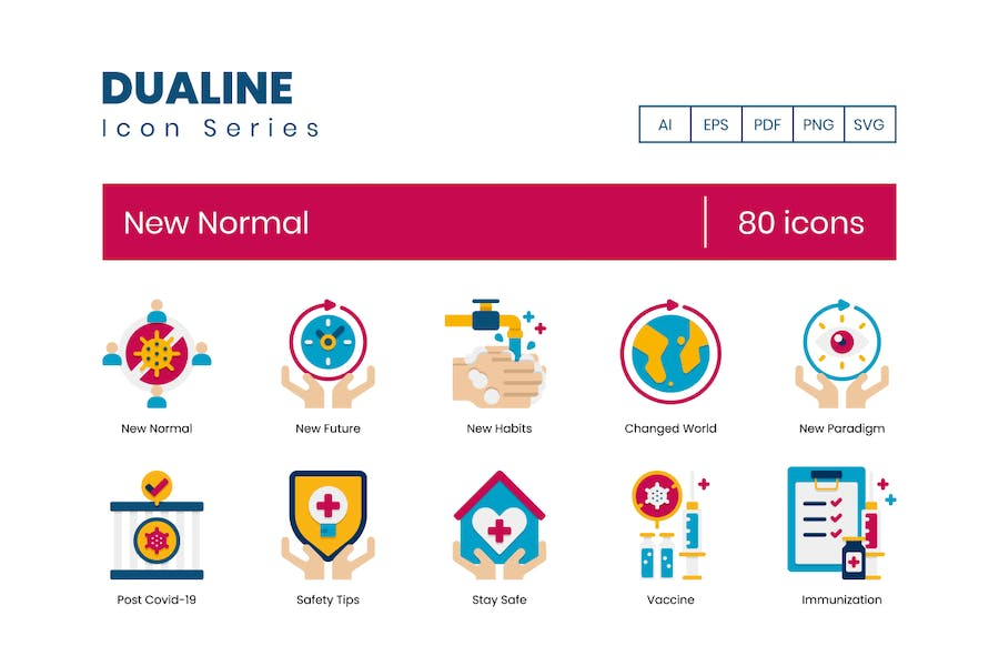 80 neue Normal Icons - Dualine Flat Serie