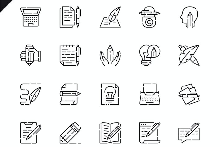 Thumbnail for Simple Set Copywriting Line Icons
