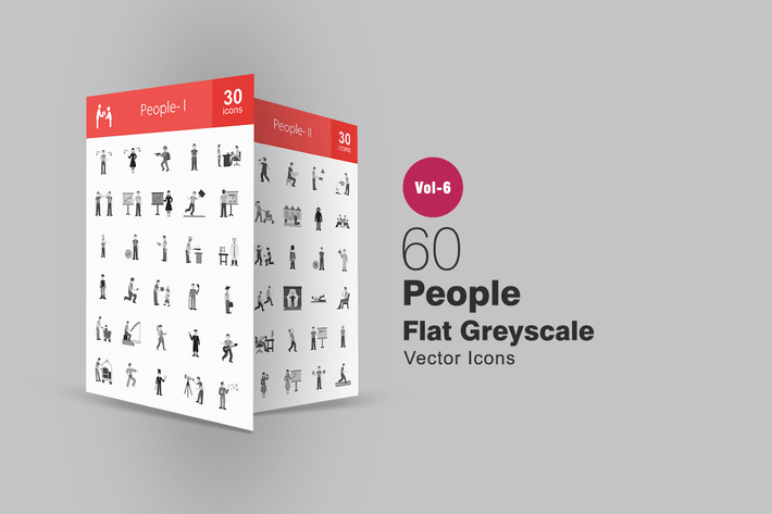 Thumbnail for 60 People Flat Greyscale Icons