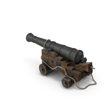 Medieval Gun on Gun Carriage with Rope