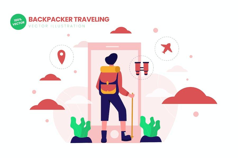 Backpacker Traveling Flat Vector Illustration