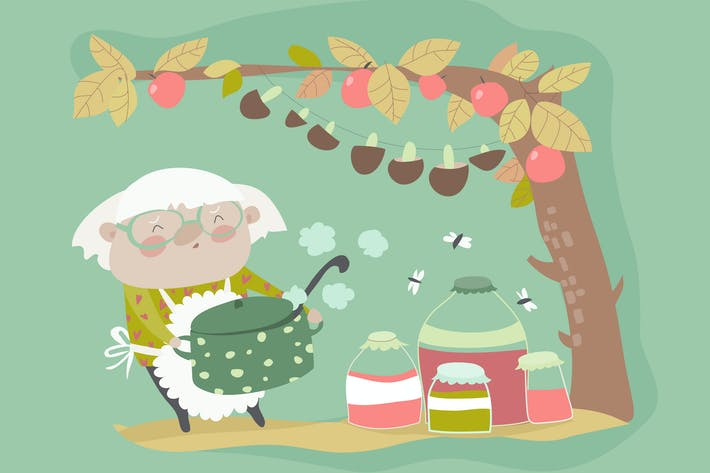 Thumbnail for Cute grandma cooking jam. Vector cartoon