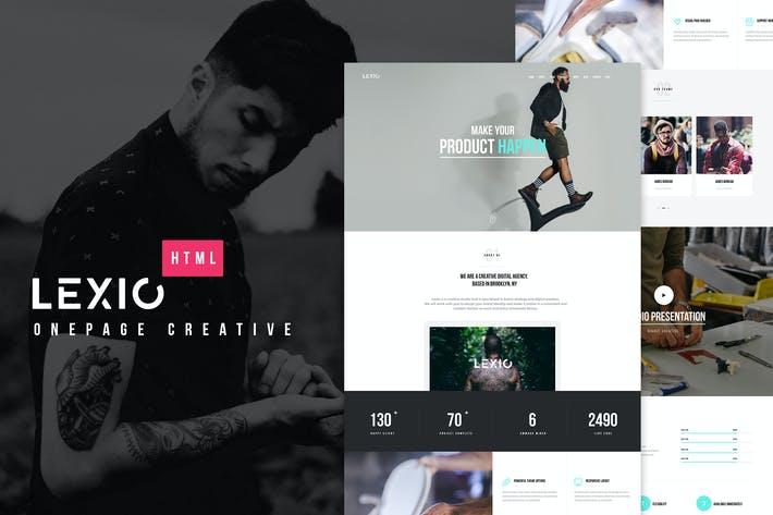 Thumbnail for Lexio - Onepage Creative HTML Template