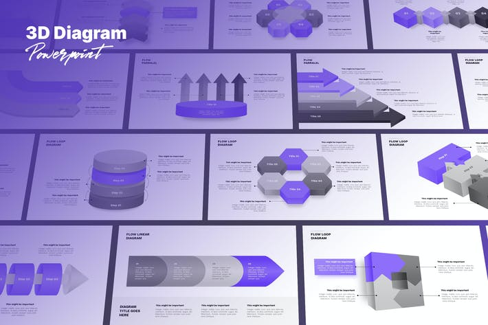 3D Diagram Powerpoint Template