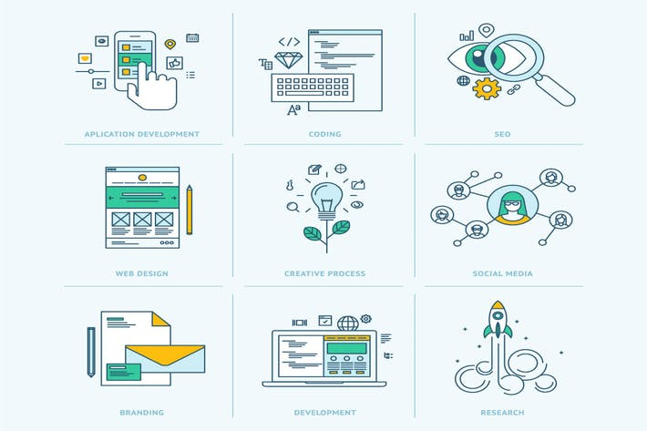 Thumbnail for Flat Line Icons for Graphic and Web Design