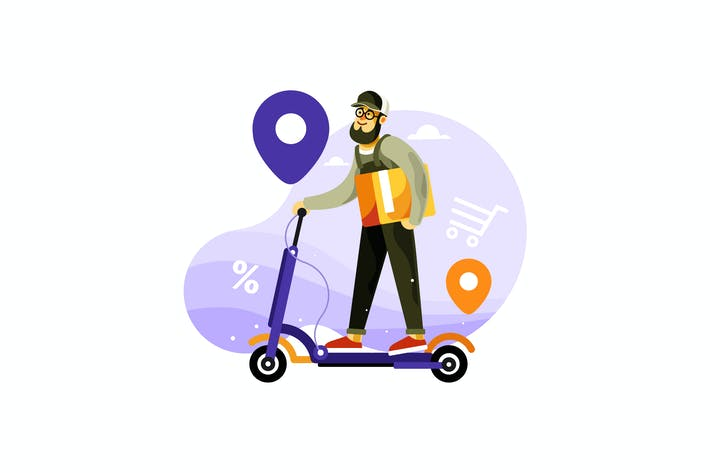 Thumbnail for Delivery Courier Riding Electric Scooter