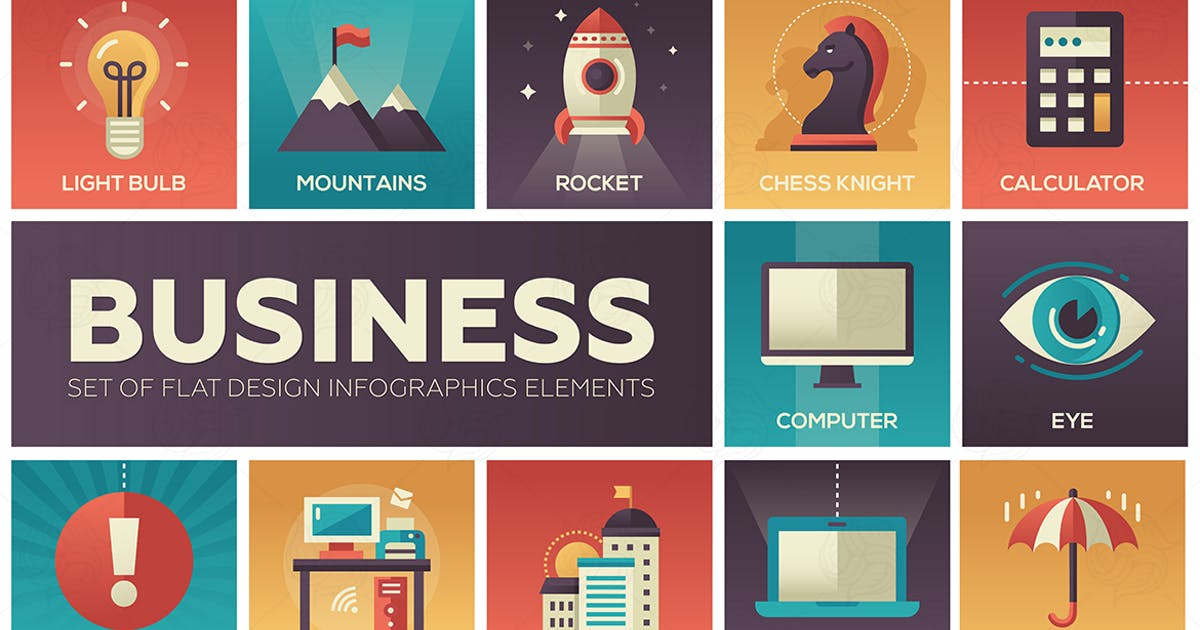 Download Business - set of flat design style elements by BoykoPictures
