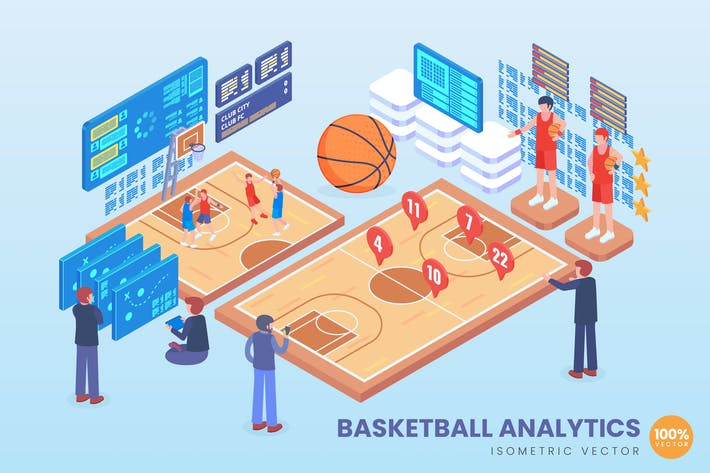 Thumbnail for Isometric Basketball Analytics Vector Concept