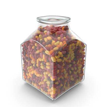 Quadratisches Glas mit Jelly Beans Rot Gelb