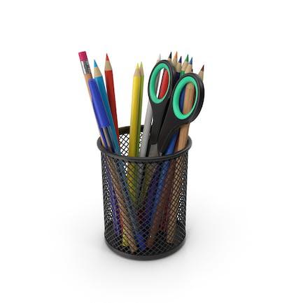 Taza con lápices y bolígrafos