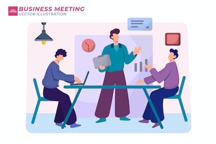 Bussiness Meeting Плоская иллюстрация