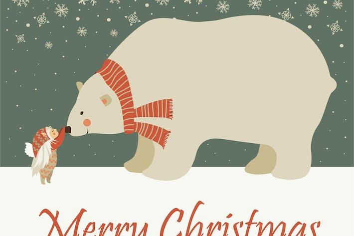 Thumbnail for Little angel and polar bear celebrating Christmas