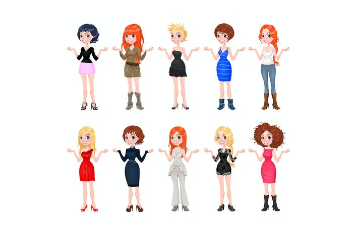 Thumbnail for Women with Different Dresses, Clothes and Shoes