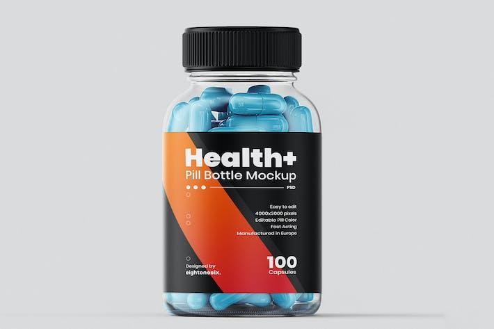 Thumbnail for Transparent Pill Bottle Mockup Template