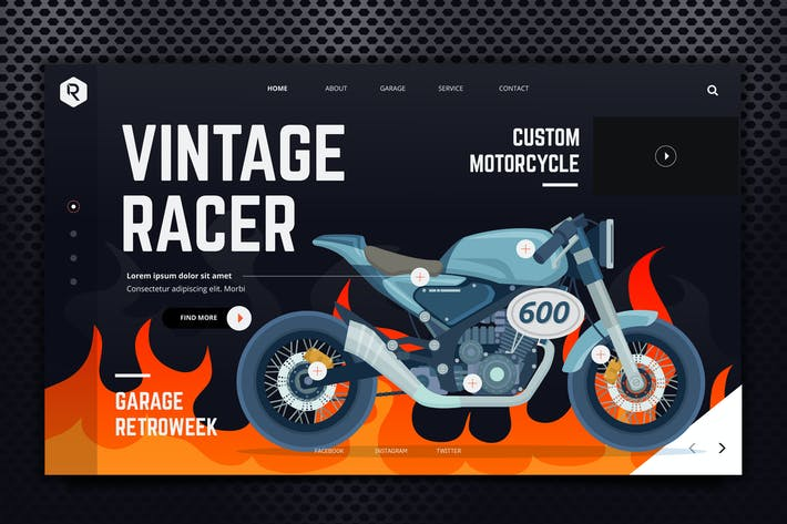 Thumbnail for Vintage Racer Web Header PSD & Vector Template