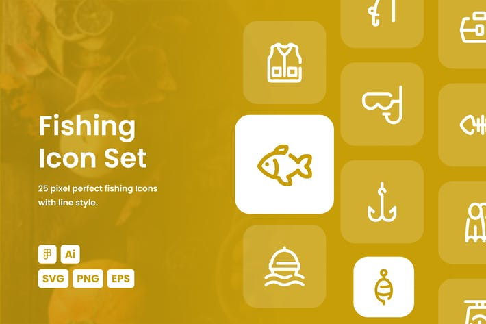 Fishing Dashed Line Icon Set