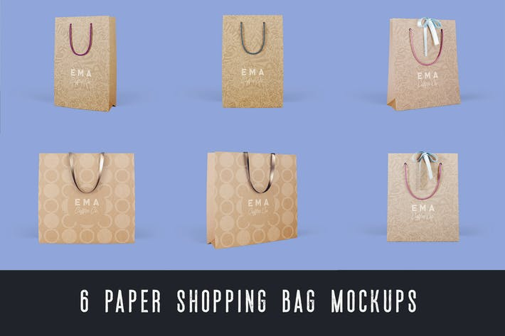 Thumbnail for 6 Paper Shopping Bag Mockups