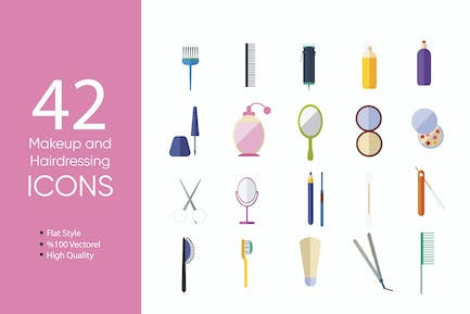 Makeup and Hairdressing Icons Set