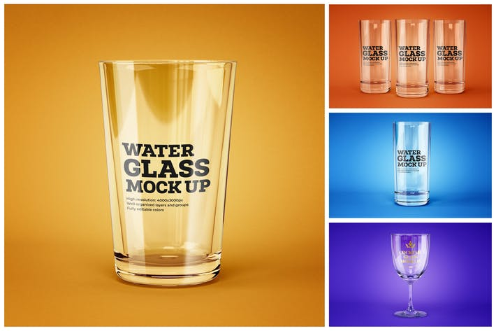 Thumbnail for Water and Cocktail Glass Mockup Set
