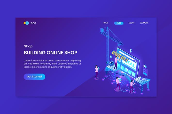 Thumbnail for Building Online Shop Isometric Concept Landing