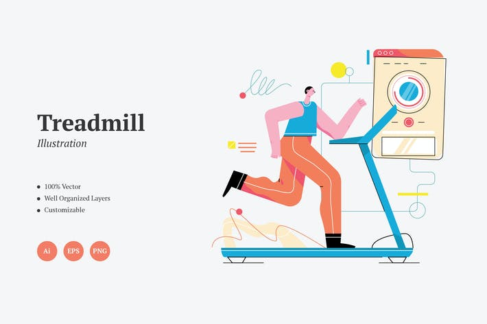 Thumbnail for Treadmill Workout Graphics Illustration