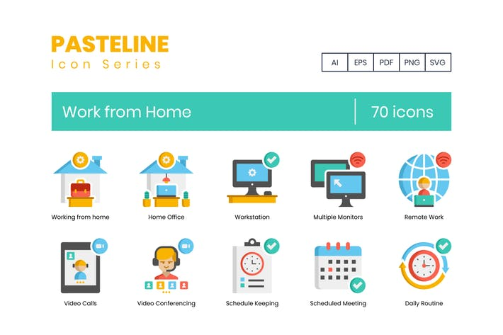 Thumbnail for 70 Work from Home Flat Icons