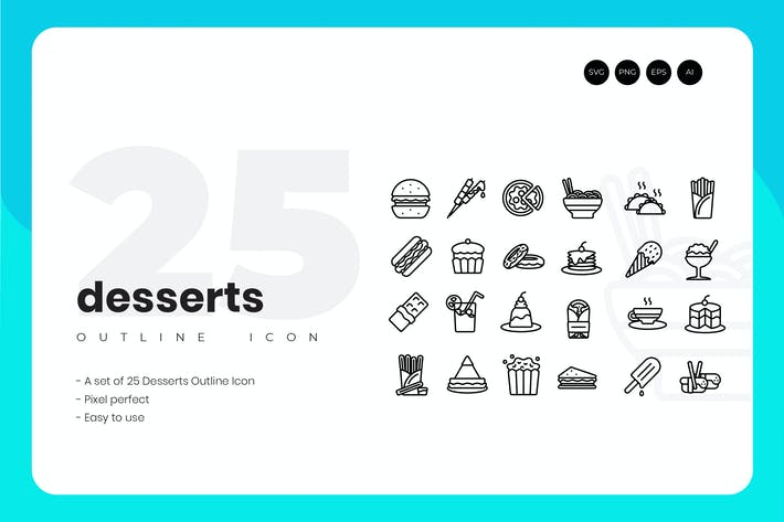 Thumbnail for 25 Dessert Outline Icon Set