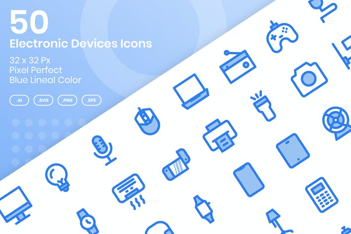 Thumbnail for 50 Electronic Devices Icons - Blue Lineal Color