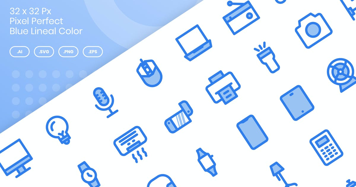 Download 50 Electronic Devices Icons - Blue Lineal Color by kmgdesignid