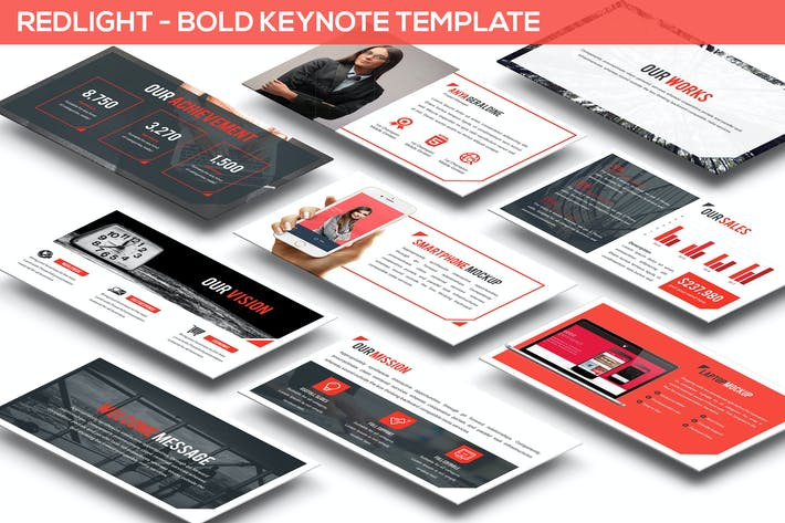 Thumbnail for Redlight - Bold Keynote Template