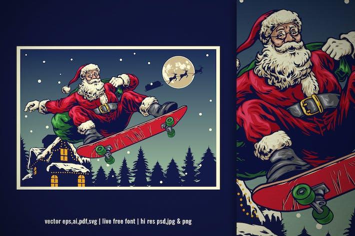 Thumbnail for vintage illustration of santa claus skateboarding