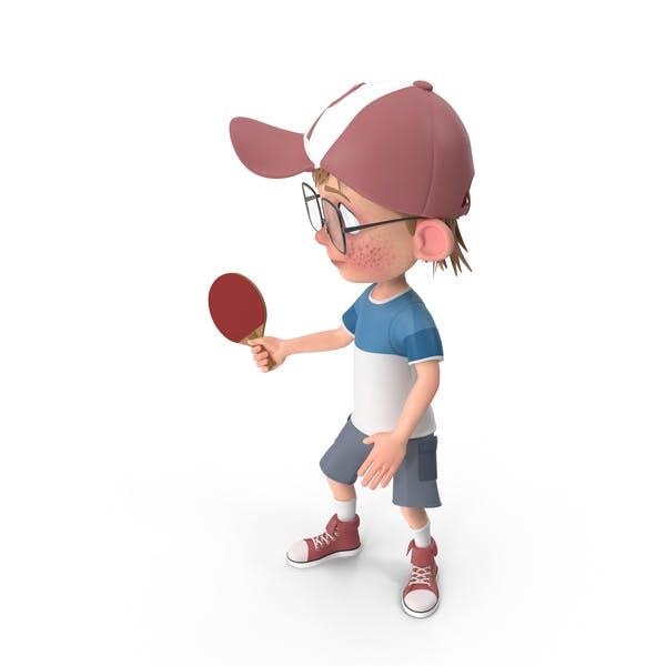 Cartoon Boy Harry Playing Table Tennis