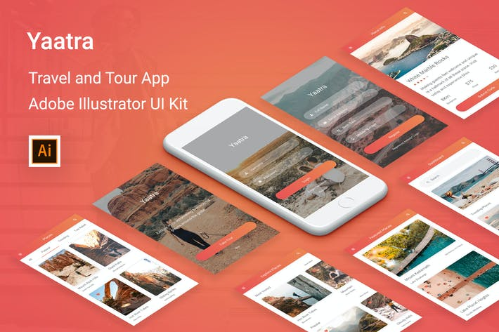 Cover Image For Yaatra - Travel & Tour UI Kit for Illustrator