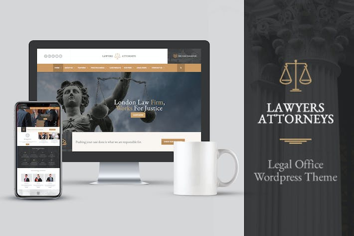 Thumbnail for Lawyer Attorneys Modern Law Firm PSD Template