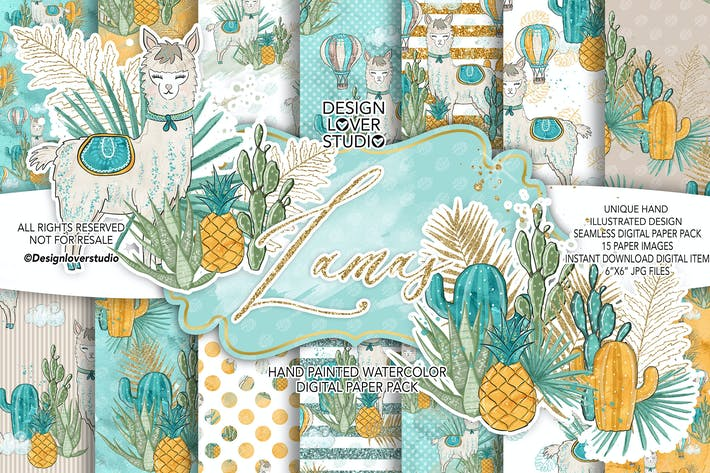 Cover Image For Lama boy digital paper pack