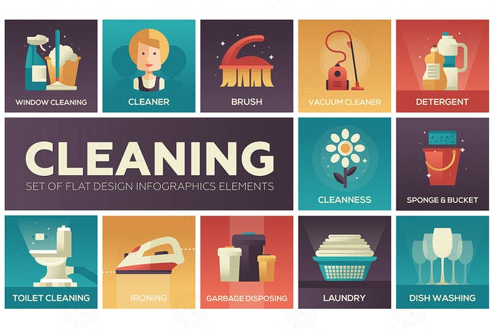 Cover Image For Cleaning - vector modern flat design icons set