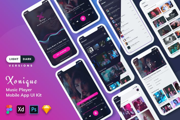 Thumbnail for Xonique-Music Mobile App UI Kit (Light & Dark)