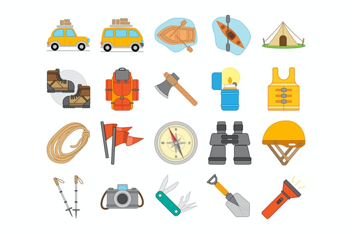 Thumbnail for Camping And Hiking Outdoor Equipment Icon Set