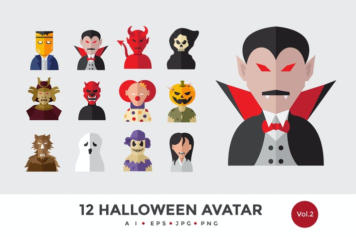 Thumbnail for 12 Halloween Monster Avatar Vector Illustration 2