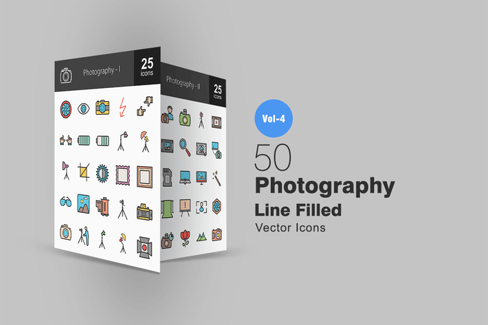 Thumbnail for 50 Photography Line Filled Icons