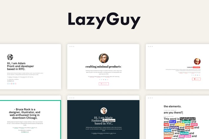 Thumbnail for LazyGuy - Personal Landing Page Template