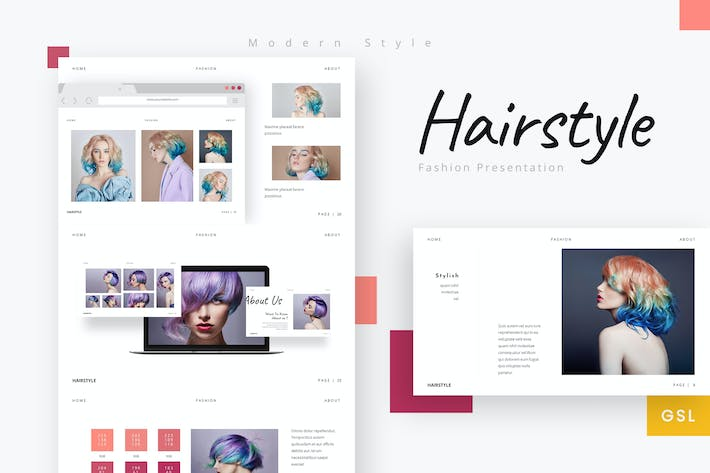 Thumbnail for Hairstyle - Beautiful Company Google Slides Templa