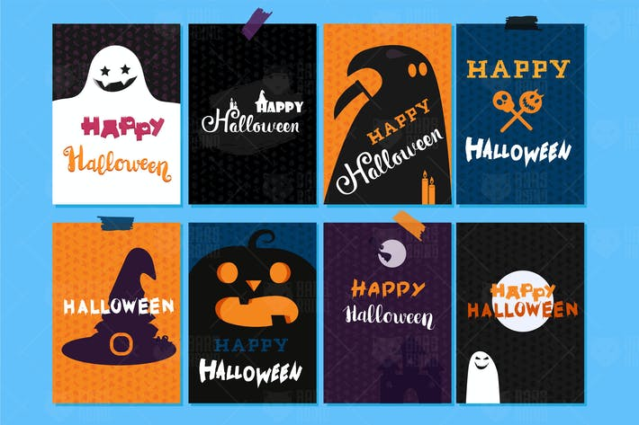 Cover Image For Happy Halloween Banners And Cards Set
