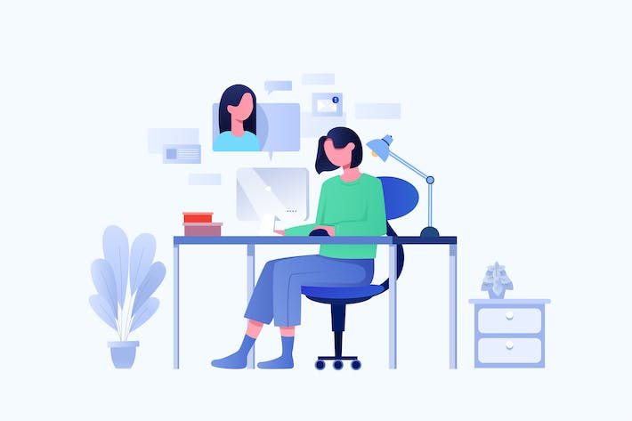 Thumbnail for A women working at home preventing from COVID-19