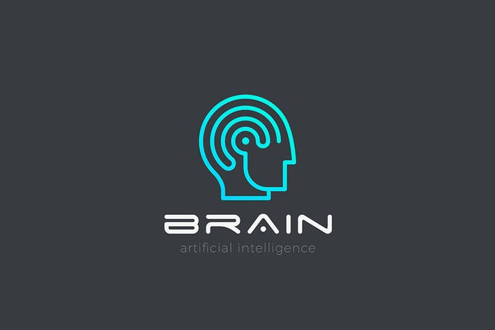 Thumbnail for Logo Man with Brain Artificial Intelligence Linear