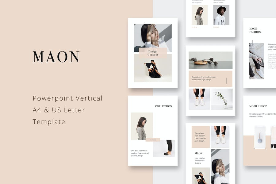 MAON - Вертикальная Powerpoint A4 + Шаблон буквы США
