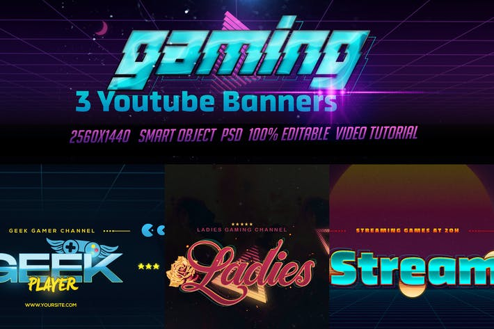 3 Youtube Banners - Gaming Channel Art V2