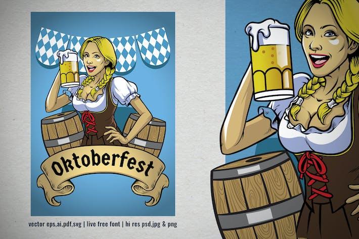 Thumbnail for oktoberfest illustration of bavarian girl posing