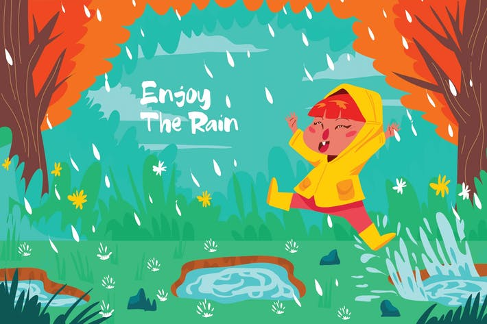 Thumbnail for Enjoy The Rain - Vector Illustration